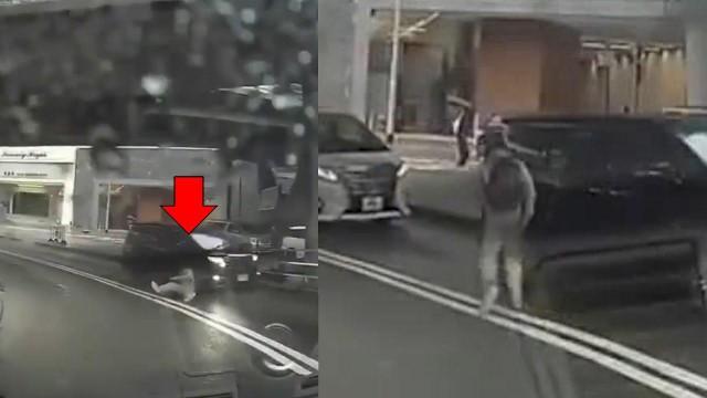 В Японии на дороге засняли телепортацию странного человека