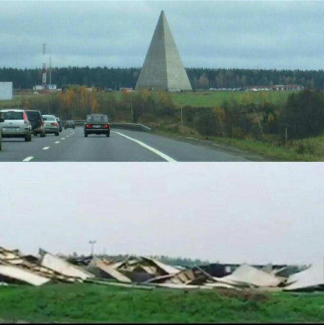 Ураган разрушил Пирамиду Голода на Новой Риге в Подмосковье