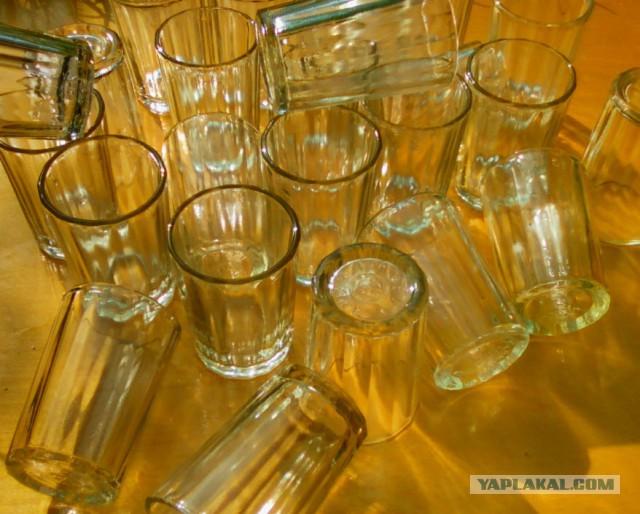 Стекляные граненые стопки,100 грамм,Сделано в СССР