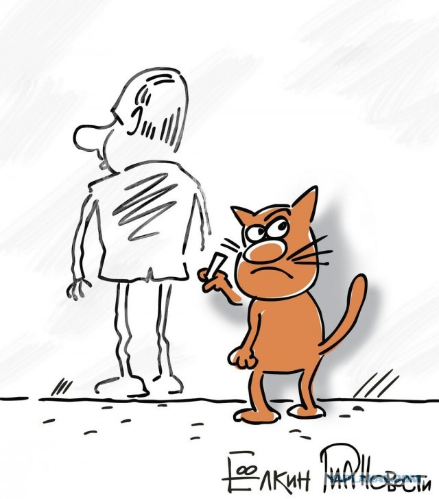 Путин и нарисованный кот
