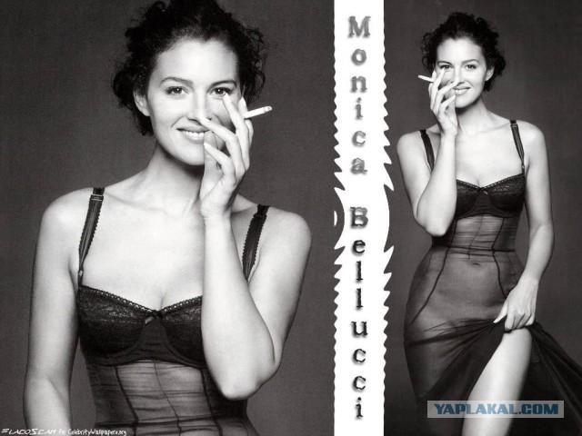 Молодая Моника Беллуччи играется с сигаретой обои для рабочего стола, откры