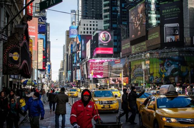 Желтое такси Нью Йорка.