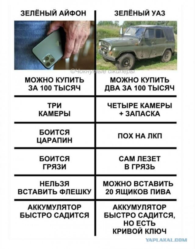 Зеленый Iphone vs УАЗ