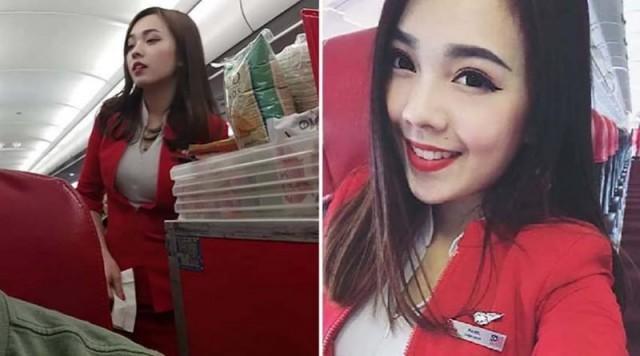 На рейсе AirAsia обнаружена самая красивая стюардесса