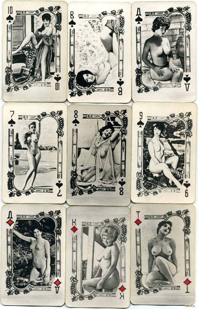 черно белые игральные порно карты