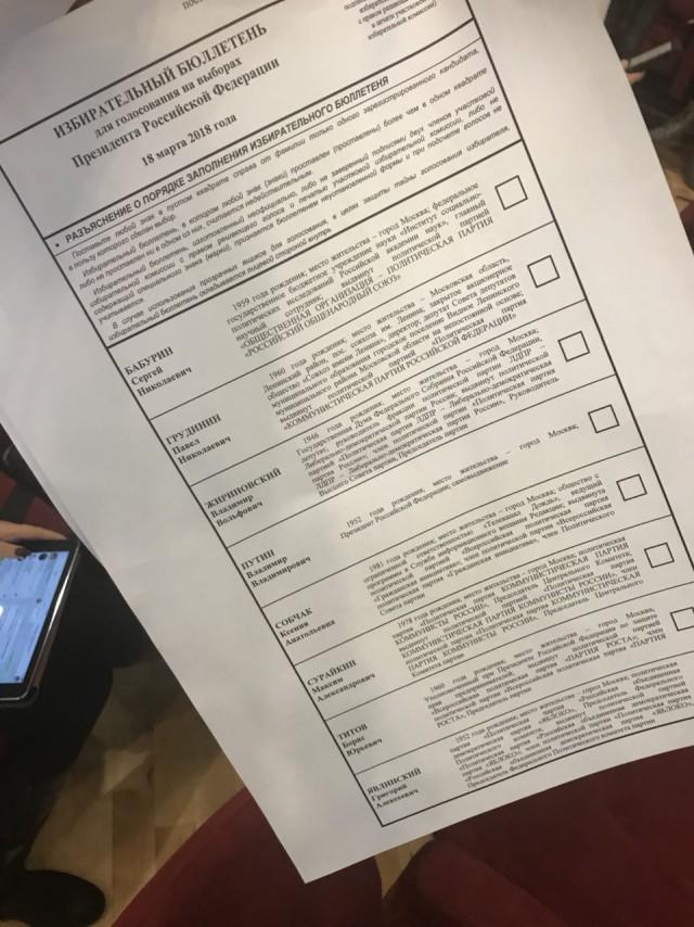 Избирательный бюллетень 2018