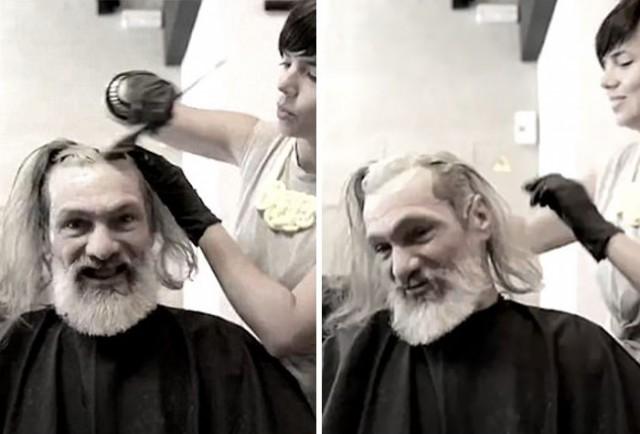 """""""Это я?"""" Ловкость рук парикмахера изменила внешность бездомного испанца до неузнаваемости"""