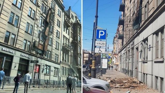 В центре Петербурга обрушились четыре балкона жилого дома