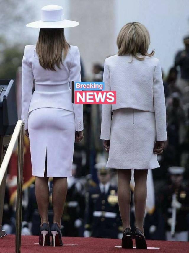 На фото Мелания Трамп и Брижит Макрон