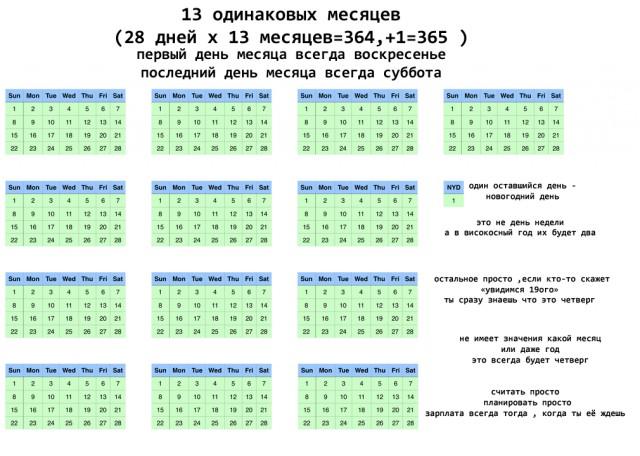 Пользователь Интернета предложил новый календарь