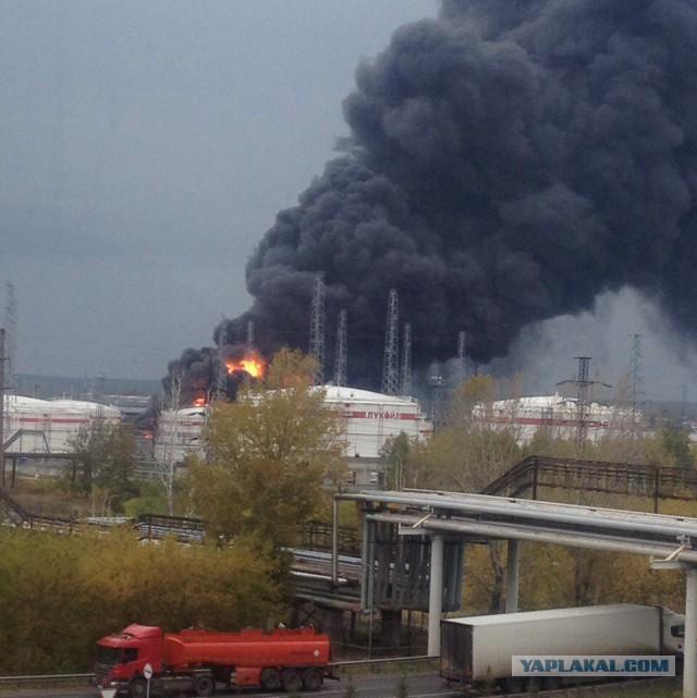 Крупный пожар на заводе «Лукойла» в Нижегородской области