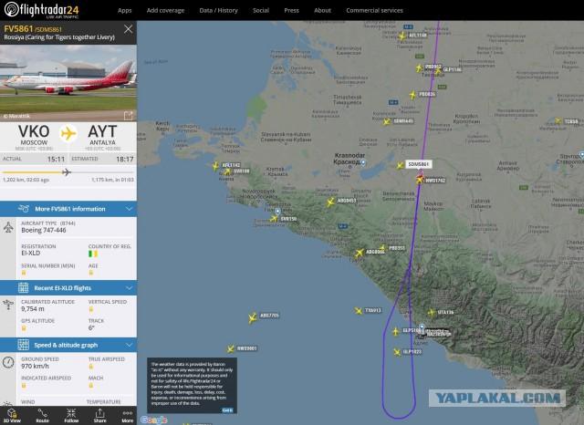 Рейс АК Россия 5861 развернулся над Черным морем.