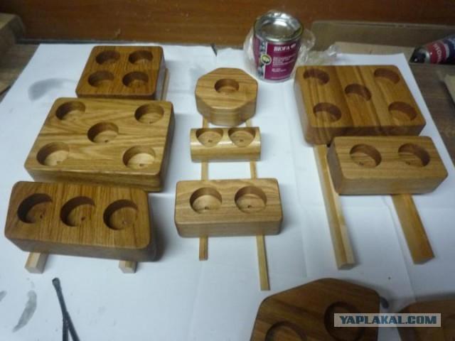 Подсвечники из благородных пород дерева (для чайных свеч)