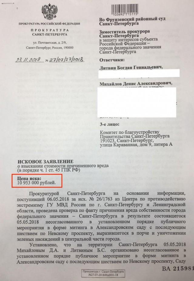Прокуратура Петербурга оценила ущерб от митинга «Он нам не царь» в 11 миллионов рублей