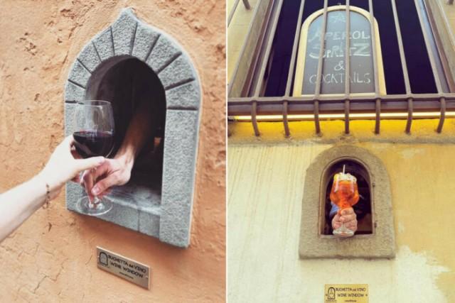 В Тоскане возродили чумную традицию. Теперь бары и рестораны продают напитки через средневековые «винные окна»