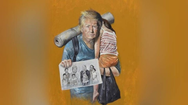 Художник из Сирии представил Трампа, Меркель и других политиков в образе беженцев
