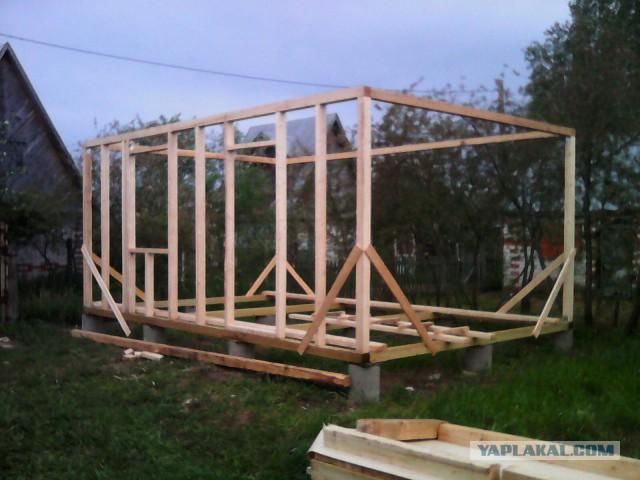 Садовый домик из каркаса своими руками 44