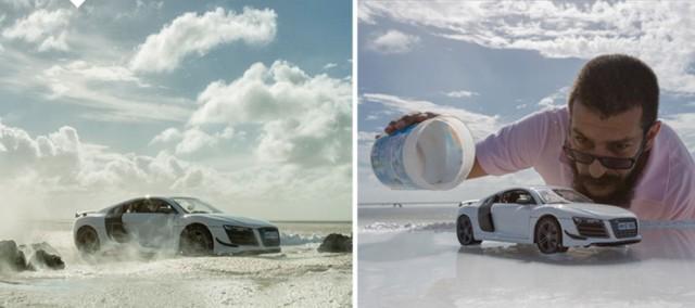 Шикарные рекламные фото спорткара Audi R8, сделанные с помощью игрушечной машинки