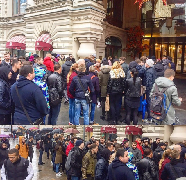"""Сотни """"зомби"""" собрались на Красной площади в ожидании старта продаж iPhone 7"""