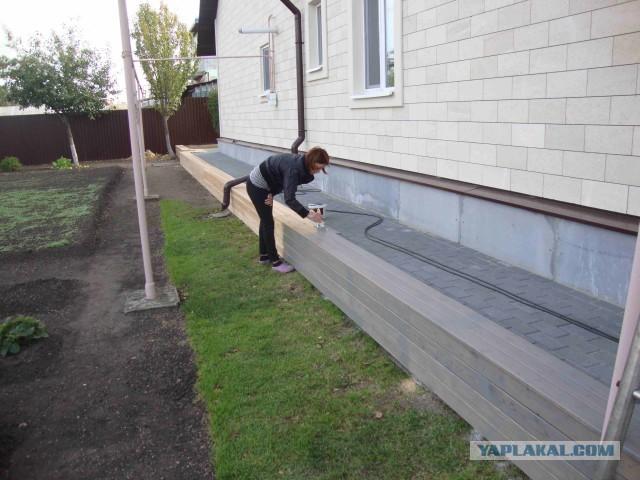 Выравнивание цоколя и скамейками