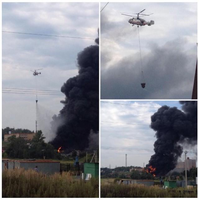 Крупный пожар на лакокрасочном заводе в Новой Москве тушат три вертолёта