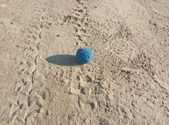 Синие шарики на пляже финского залива