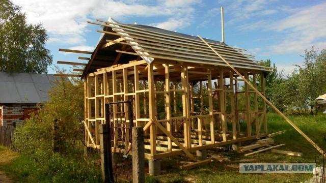 Садовый домик из каркаса своими руками 29