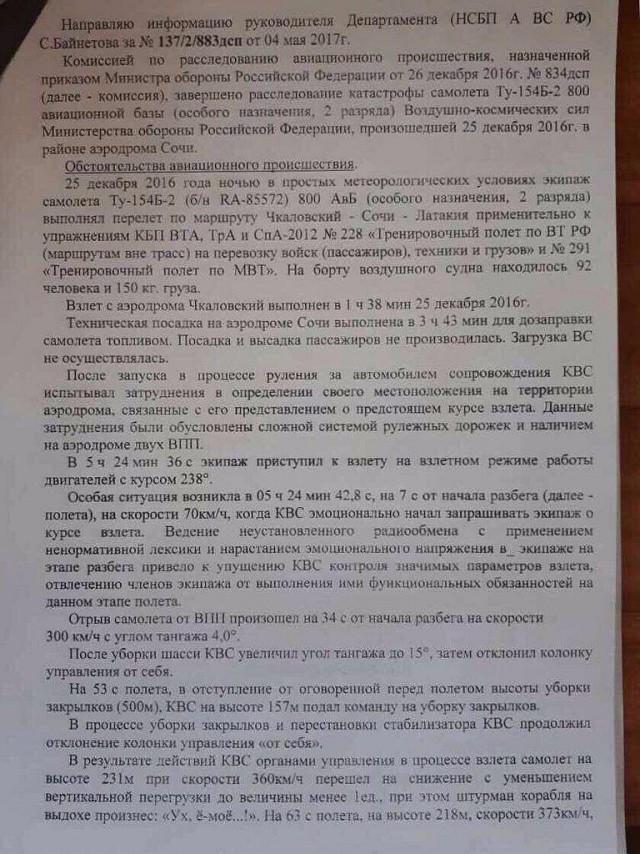 Названа причина крушения Ту-154 под Сочи