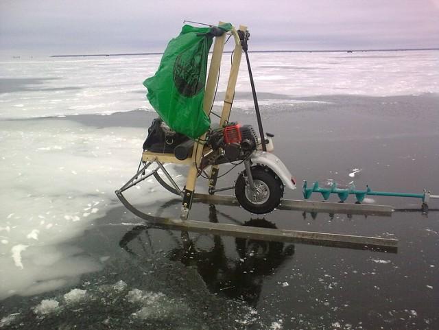 По льду на самодельном