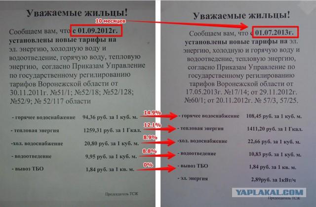 Рост тарифов ЖКХ 2012-2013 в Воронеже