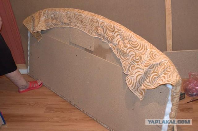 Как перетянуть кровать тканью своими руками