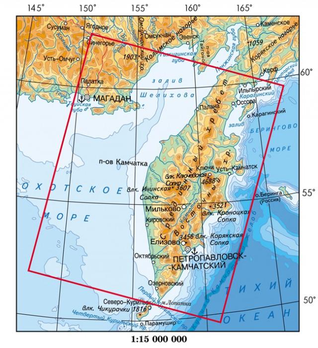 Россия где находится камчатка на карте