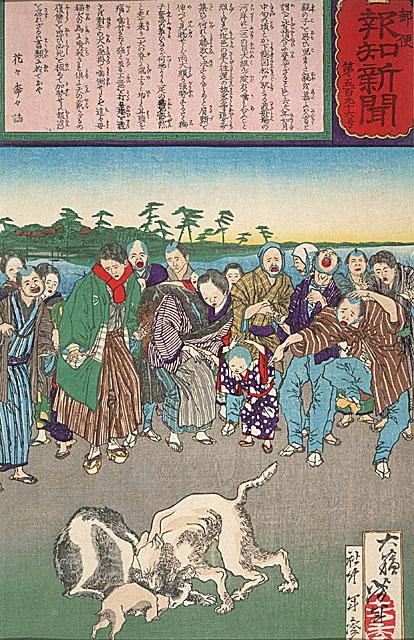 Японские гравюры из старинных японских газет