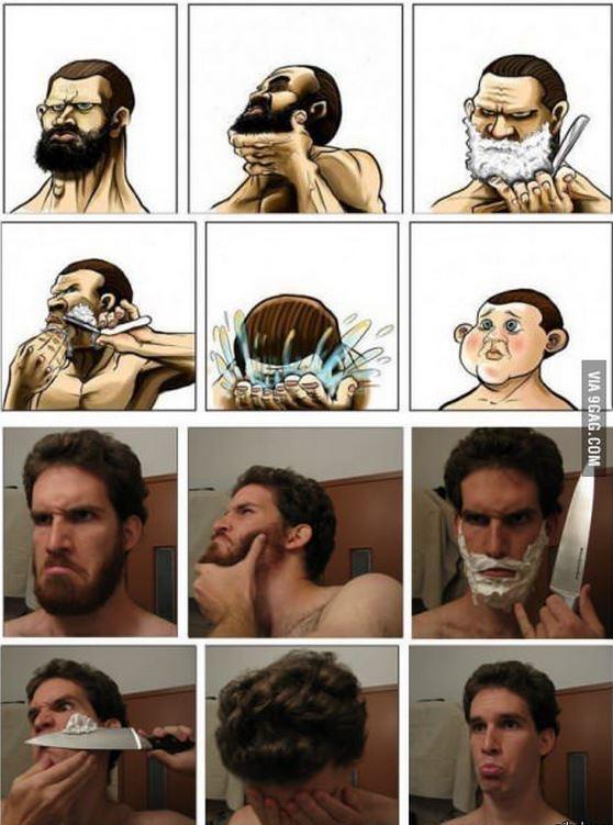 Картинка с бородой и побрился