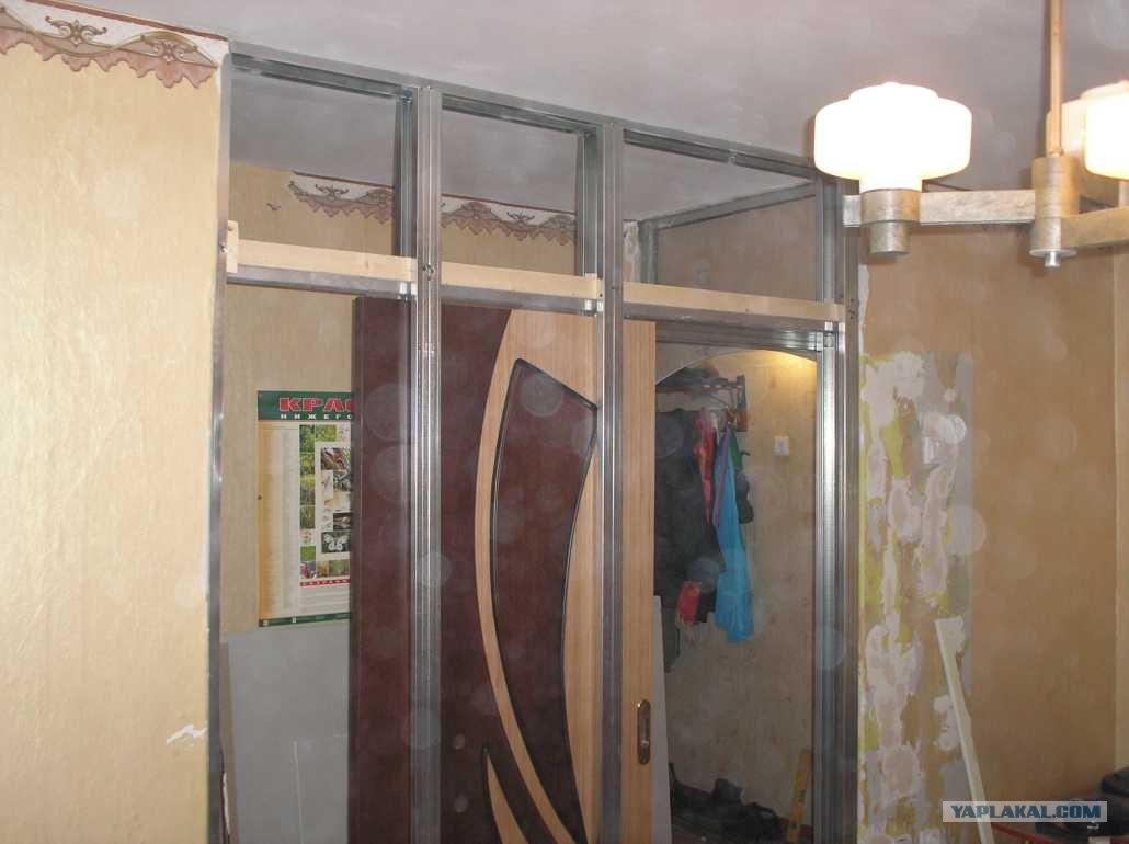 Конструкция для выдвижной двери из гкл фото