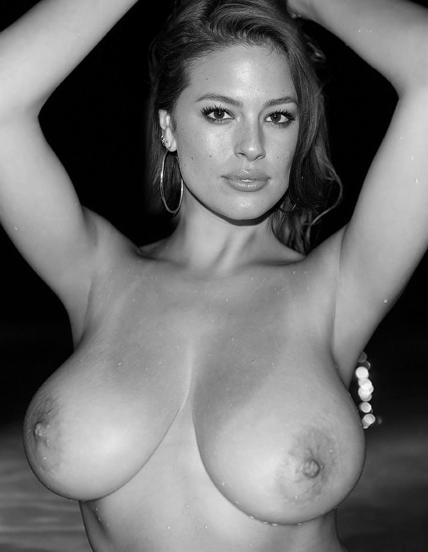 Ashley graham nude huge boobs on black and white photo