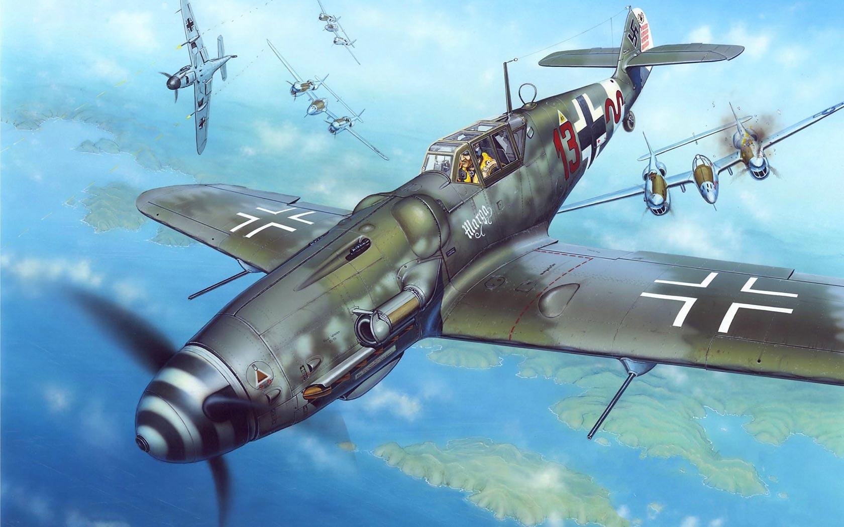 Обои bf-109f-2/u2, воздушный, самолеты. Авиация foto 15