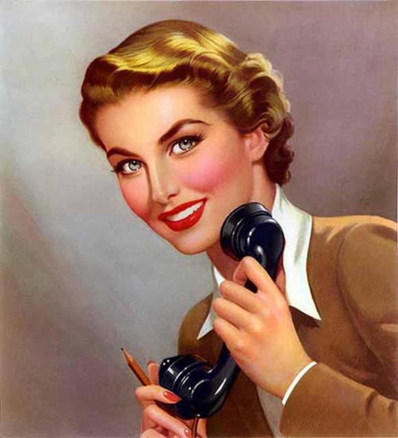 Ретро картинки девушка с телефоном, сыну 35-летием раскраски