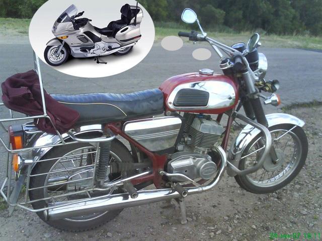 Продам мотоцикл ЯВА-350/634 .Вишневого цвета, стиль ретро, хромированный. .  Двигатель 12V.Дорого.  E-Mail.