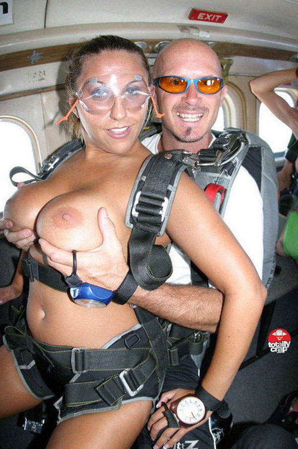 Nude men skydiving