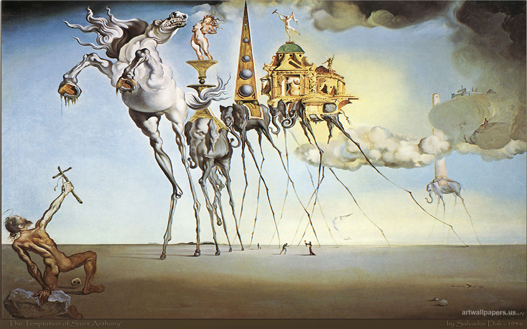 concept artist role in surrealism Concept art of fantasy type of surreal environment with a dark tower floating in the space with its cracked pieces while a glowing white figure walking around like a dream scenery.