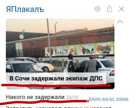 В Сочи задержали экипаж ДПС
