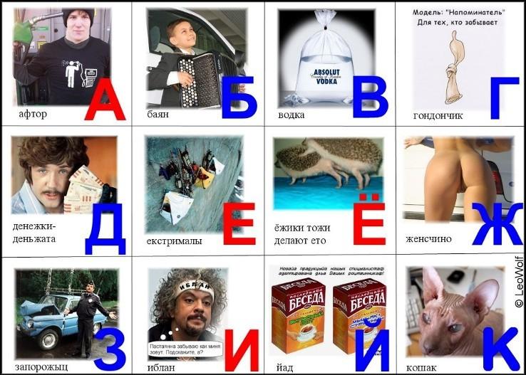Азбука с картинками смешные