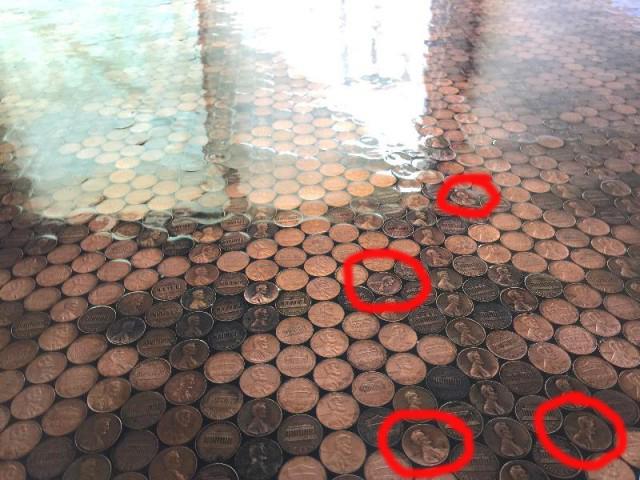 Женщина сделала просто потрясающий пол из 15 тысяч монет