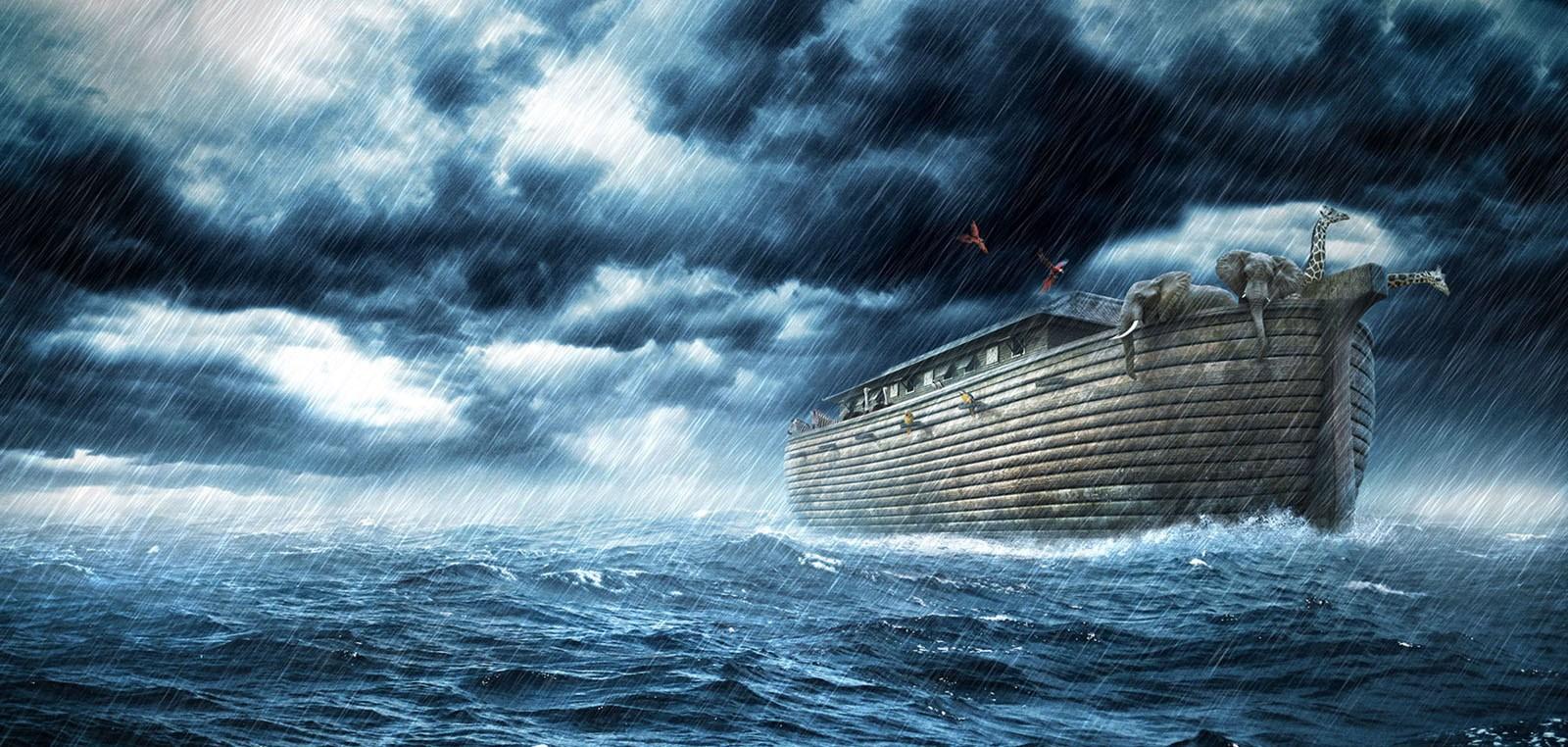 Иллюстрация Ноева ковчега во время шторма во время Великого потопа. Реальность или миф?