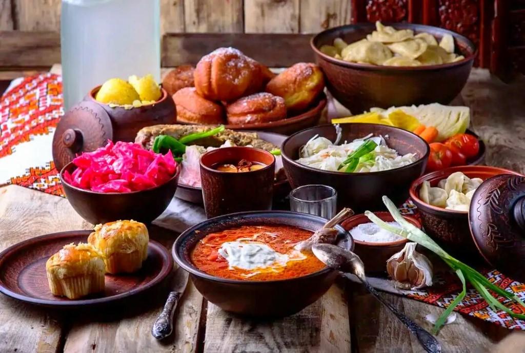 украинский стол с едой картинки легкие, простые арт
