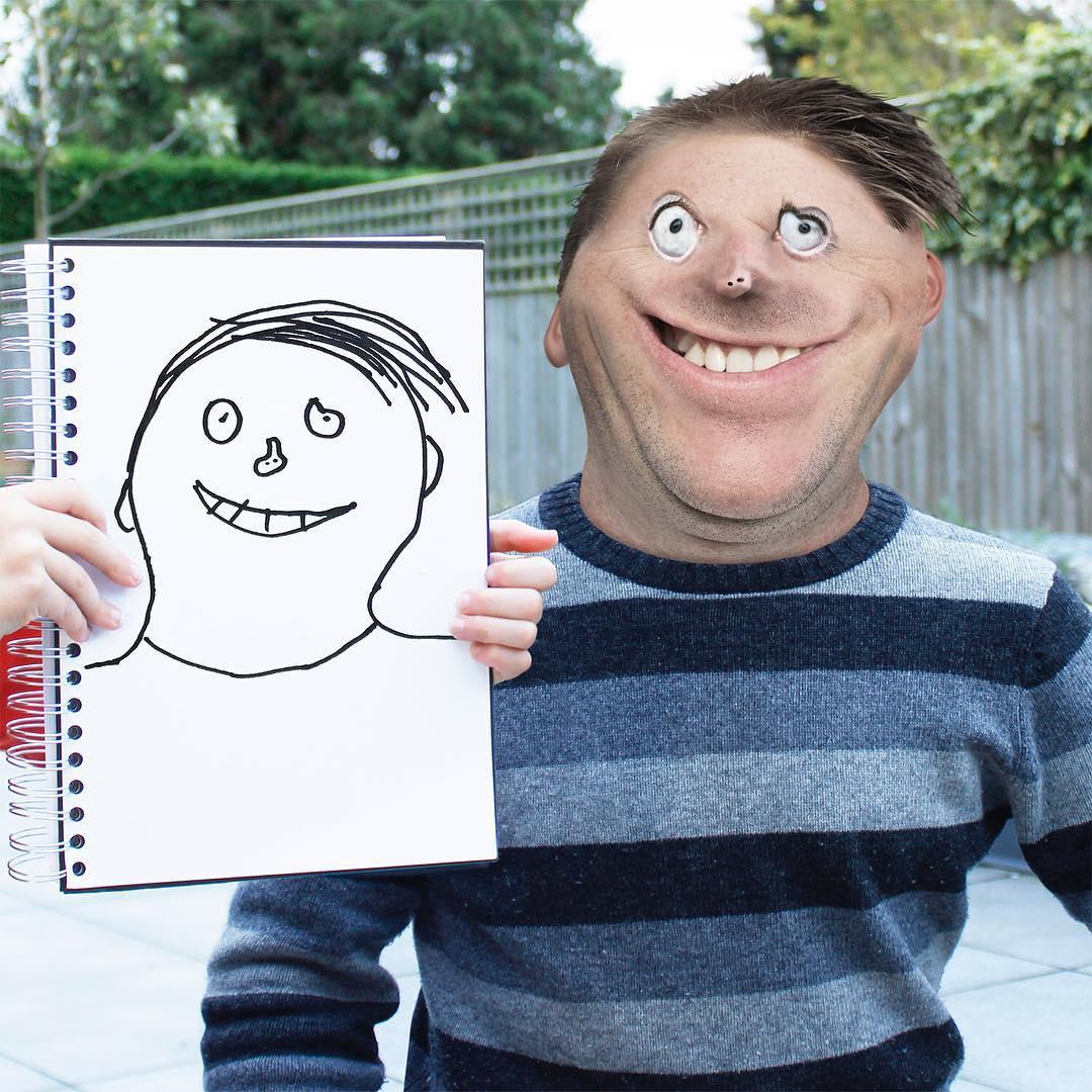 Детские рисунки смешно, мужчине-коллеге картинки