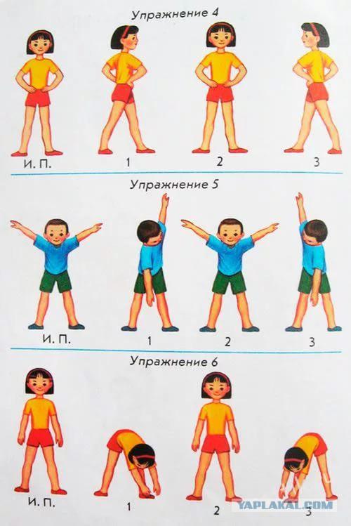 Зарядка в картинках для детей распечатать