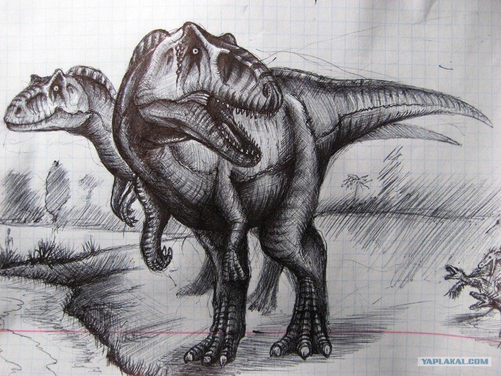 Картинки карандашом динозавры