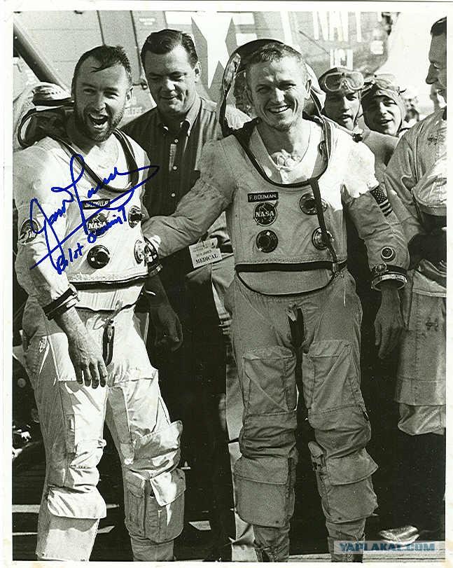 """Экипаж Аполлон-8 после первого """"облёта Луны"""" со сбросом их кк с самолёта"""